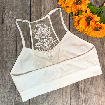 Back Embroidered Lace Bralette- White