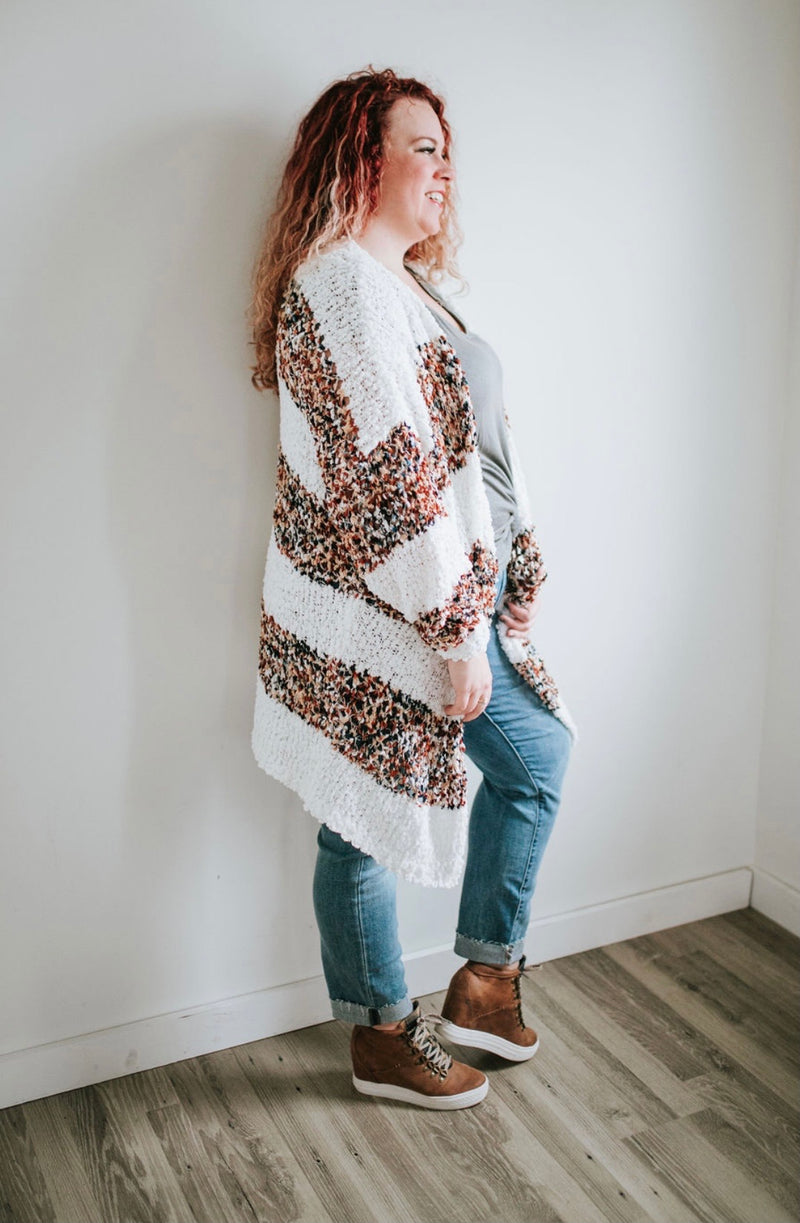 Honey Bee Cardigan- Speckled Taupe Stripe