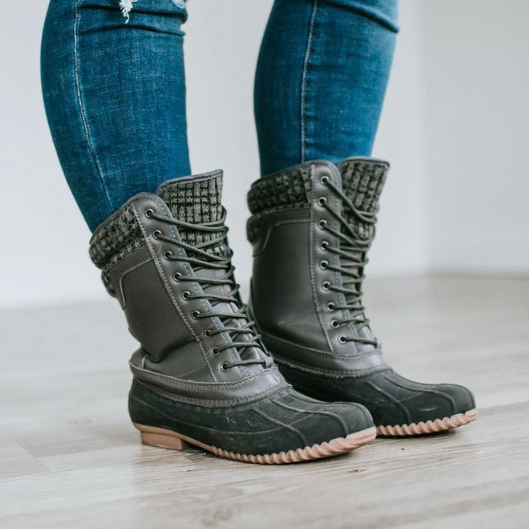 What the Duck Boots- Charcoal Lace-up