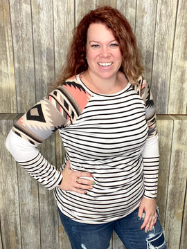 Only Prettier Long Sleeve Top- Aztec and Stripe