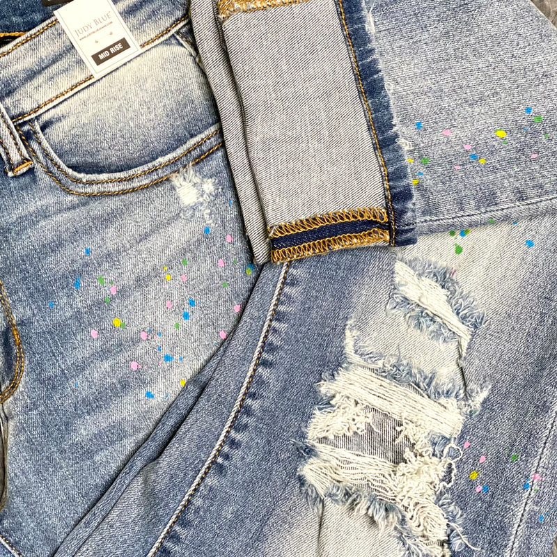 Goldie Jeans- Judy Blue Rainbow Paint Splatter Boyfriend