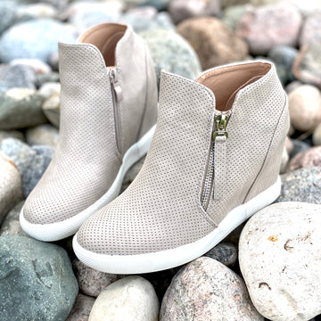 Can't Stop the Feelin' Sneaker Wedge- Taupe
