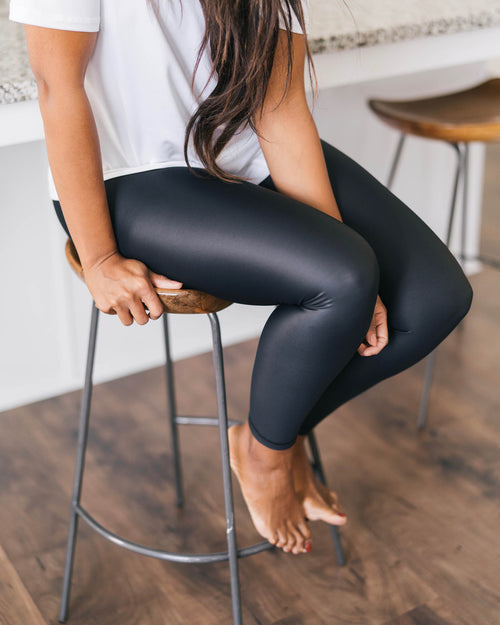 Zyia Black Metallic Leggings