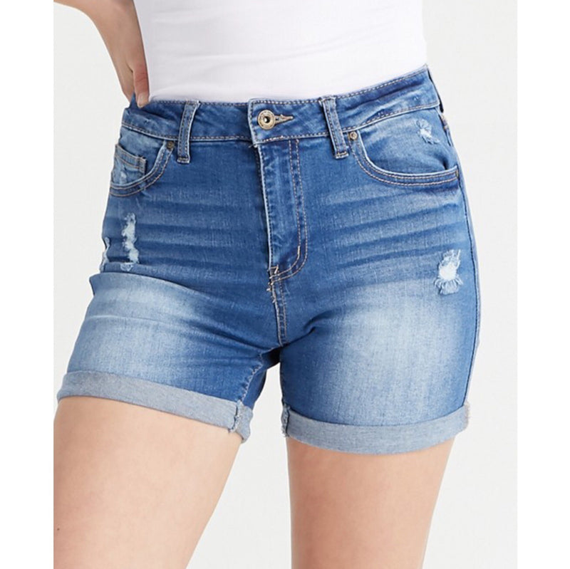 Cuffed Hem Denim Shorts