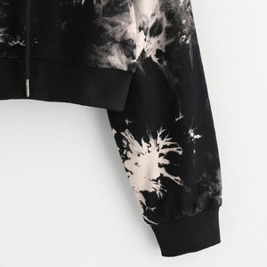 Acid Wash Cropped Hoodie - Dash Couture