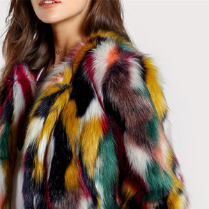 Multicolor Faux Fur Coat - Dash Couture