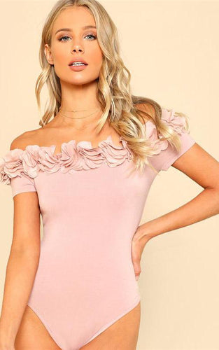 Pink Floral Off-the-Shoulder Bodysuit - Dash Couture