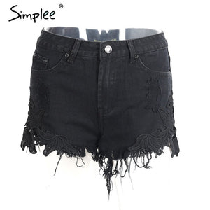 Distressed Lace Applique Shorts - Dash Couture