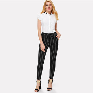 Striped Belted Skinny Pants - Dash Couture