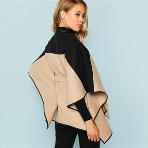 Poncho-Style  Belted Coat - Dash Couture