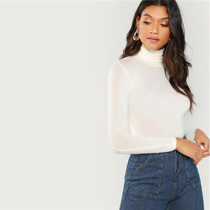 Slim Fit White Turtleneck - Dash Couture