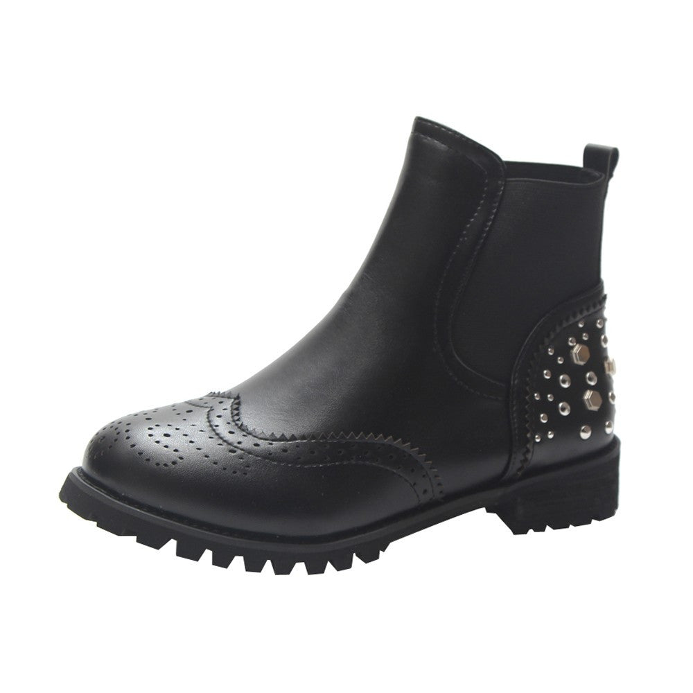 Studded Round Head Boots - Dash Couture