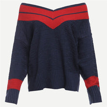 Preppy Wide-neck Sweater - Dash Couture
