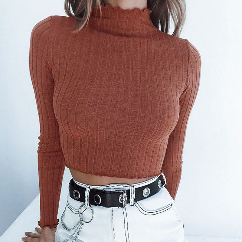 Ribbed Cropped Turtleneck - Dash Couture