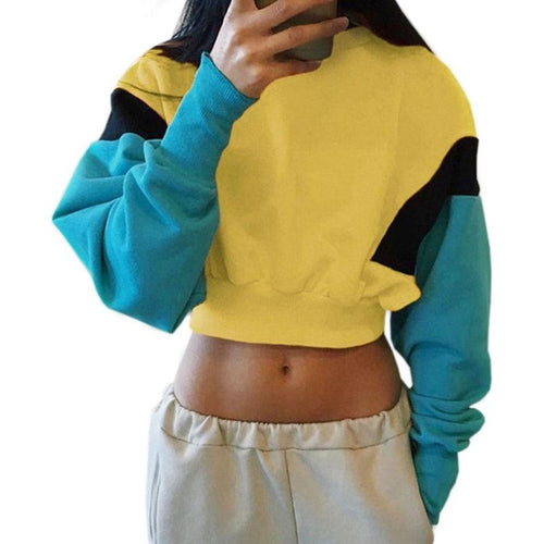 Retro Colorblock Cropped Sweatshirt - Dash Couture