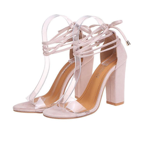 Laced Clear Strap Heels - Dash Couture