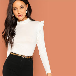 Frill Trim Mock Neck - Dash Couture