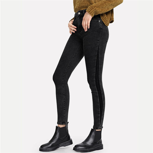 Black Slit Insert Jeans - Dash Couture