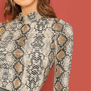 Snakeskin Mock Neck Top - Dash Couture