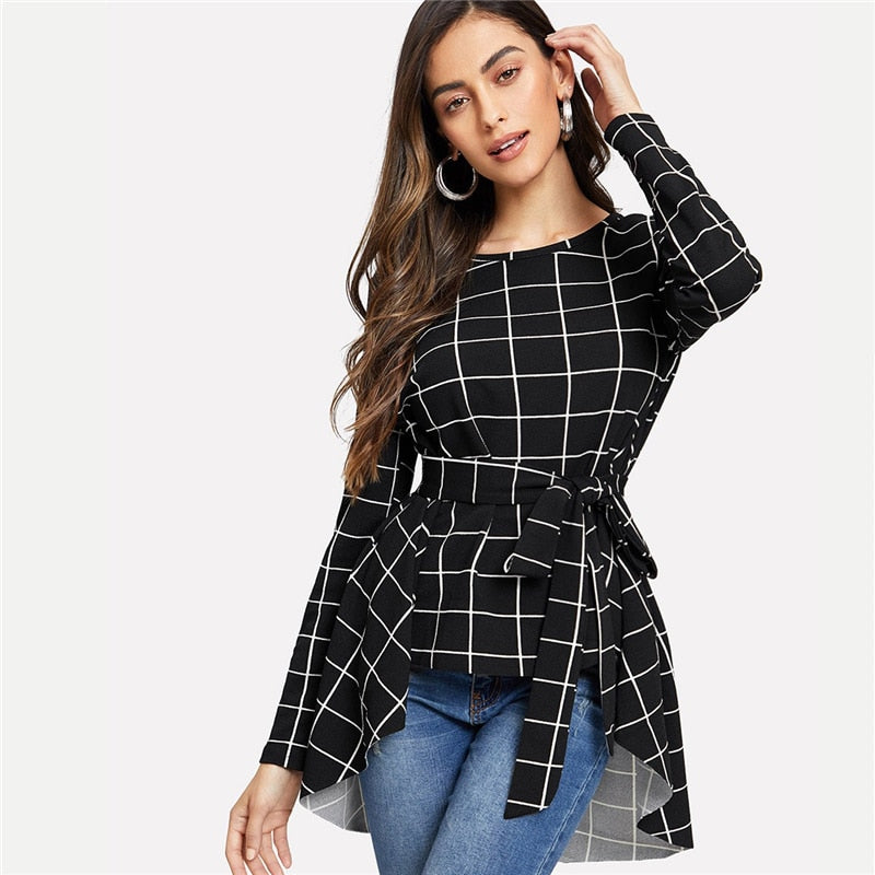 Grid Asymmetrical Top - Dash Couture