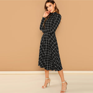 Grid Mock Neck Dress - Dash Couture