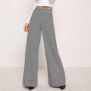 Wide Leg Houndstooth Trousers - Dash Couture