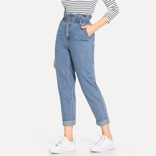 Cinched Waist Denim Pants - Dash Couture