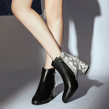 Snakeskin Contrast Booties - Dash Couture