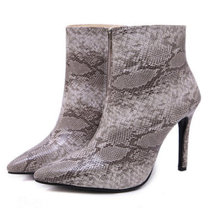 Snakeskin Stiletto Booties - Dash Couture