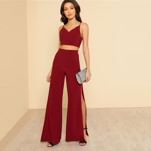 Burgundy Slitted Set - Dash Couture