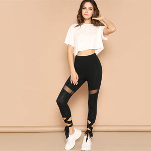 Mesh Lace Up Leggings - Dash Couture
