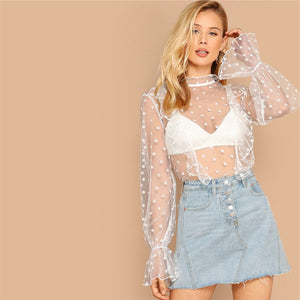 Polka Dot Full Mesh Blouse - Dash Couture