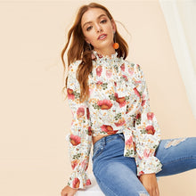 Floral Cropped Bell Cuff Blouse - Dash Couture