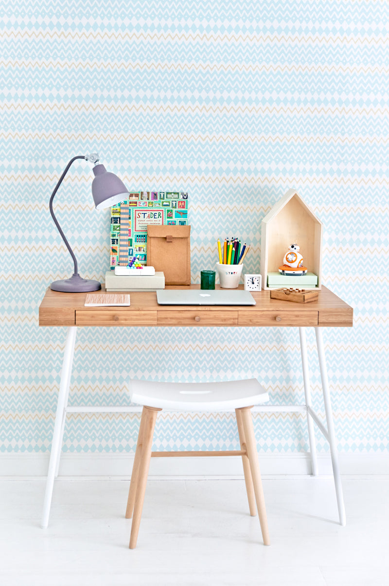 Tomoko in Turquoise Wallpaper for Kids Rooms.