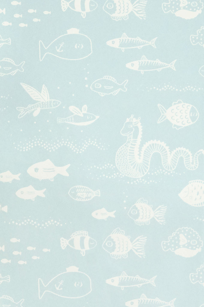 Majvillan Wallpaper | Big Blue in Dusty Turquoise