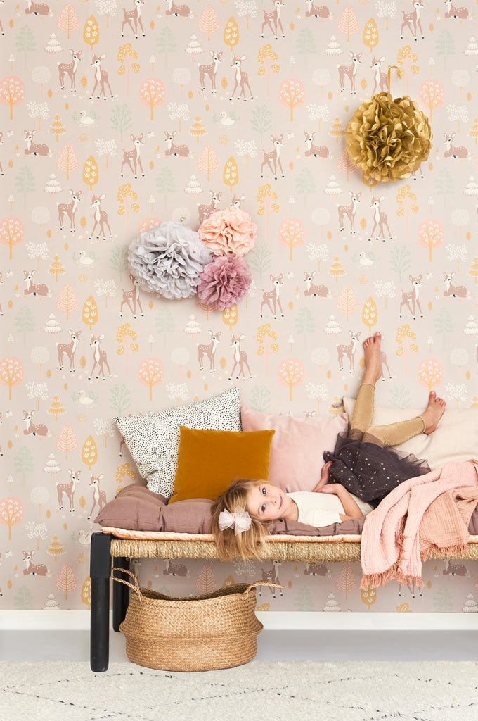 Woodland Wallpaper for Kids Rooms in Lilac