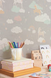Unicorns Wallpaper in Grey for Girls