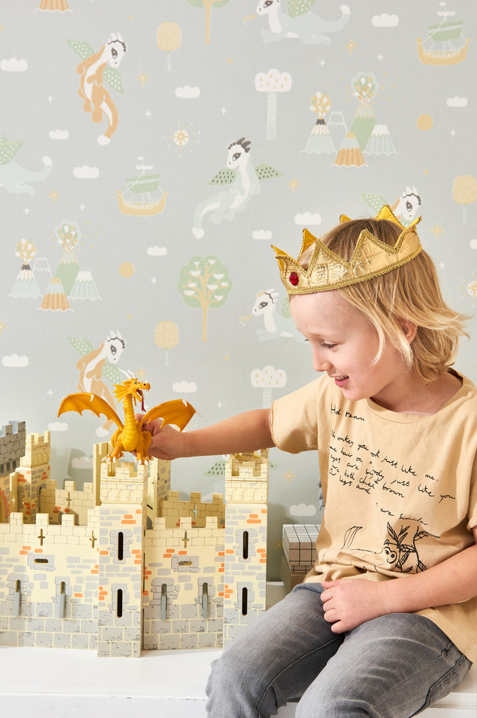 Magical Adventure Wallpaper in Soft Grey by Majvillan
