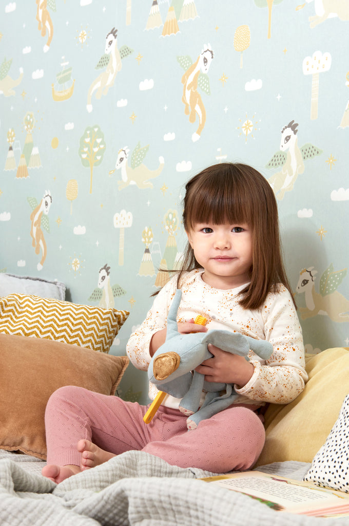 Magical Adventure Wallpaper in Dusty Blue for Kids rooms