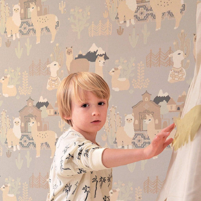 kids wallpaper - Lama Village in Soft Grey