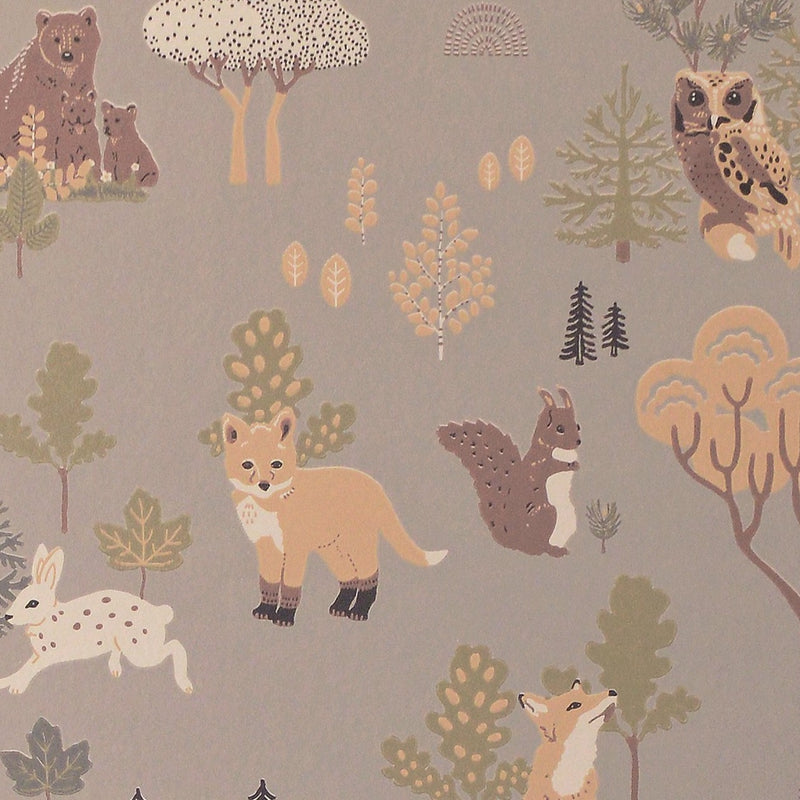 kids wallpaper - Deep forest in mystic grey