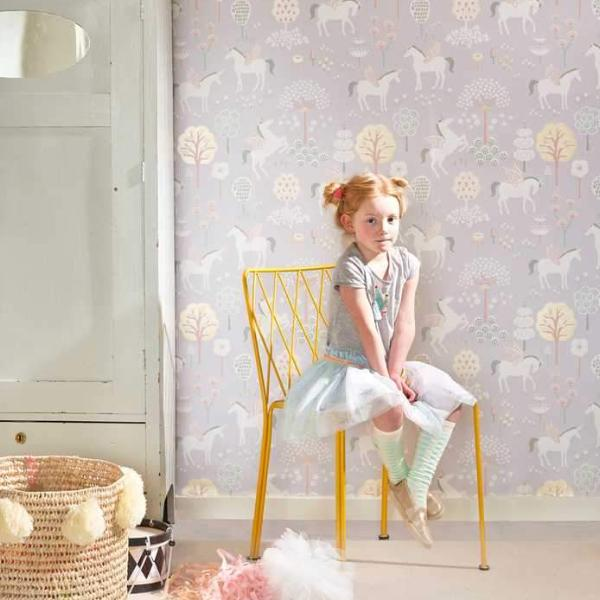 True Unicorns in Lilac Wallpaper from Majvillan