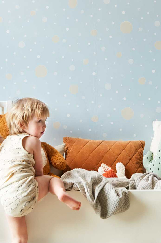 Confetti Wallpaper at Just Kids Wallpaper in Pale Blue