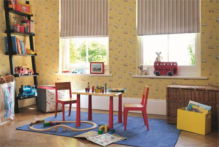 Dogs in Clogs Kids Wallpaper 214012 in Yellow | Little Sanderson Room