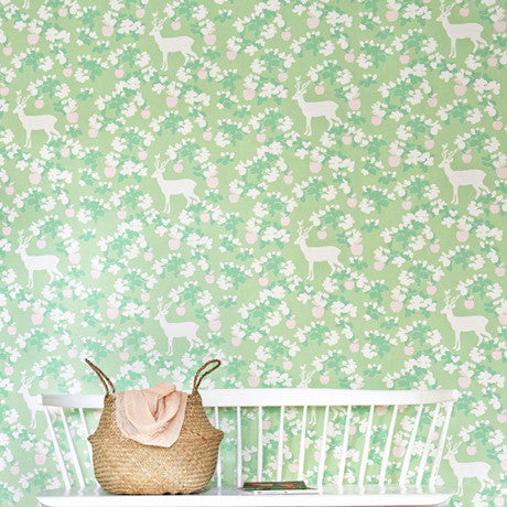 Majvillan Wallpaper | Apple Garden in Turquoise