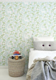 Majvillan Wallpaper. Apple Garden in Turquoise, Green, Pink & Creamy White