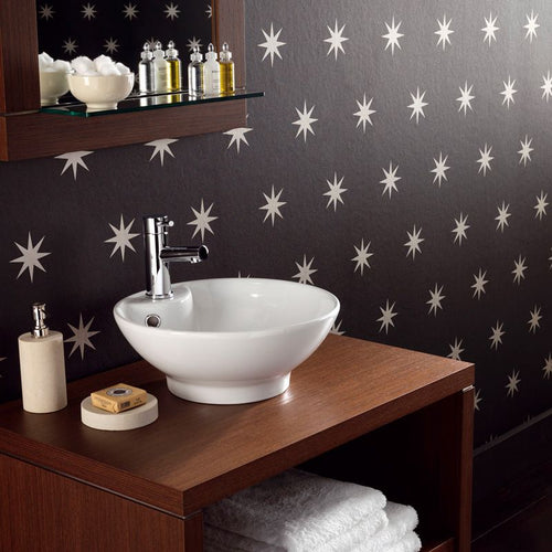 Coronata Star Wallpaper W5733-05 in Black & Silver