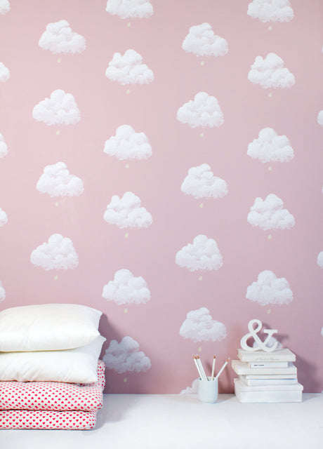 Cotton Clouds wallpaper in pink by Bartsch