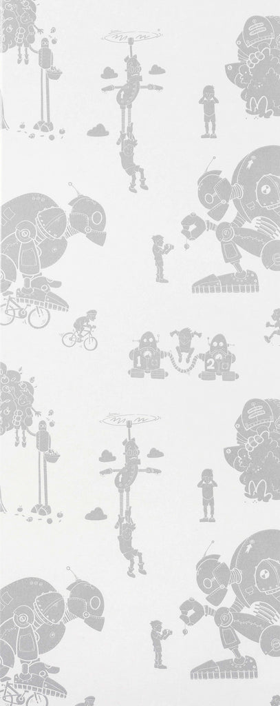 Paperboy Wallpaper Brave New World in silver & white