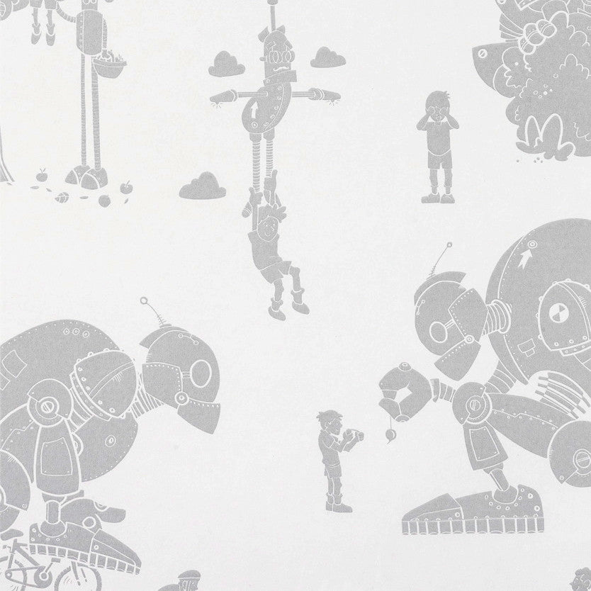 Brave New World Wallpaper in Silver & White by Paperboy